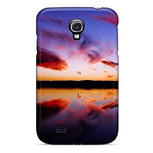 Unique Design Galaxy S4 Durable Tpu Case Cover Red Clouds Reflected In Water