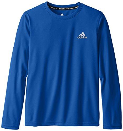 adidas Big Boys' Essential Clima Long Sleeve Tee, Blue, Small