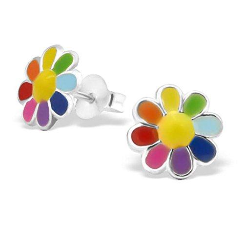 Colourful Flower Earrings Sterling Silver
