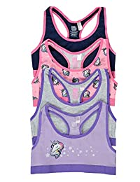 Fun Unicorn Girls Training Bras - Crop Tops 4-Pack Size S (7/8)