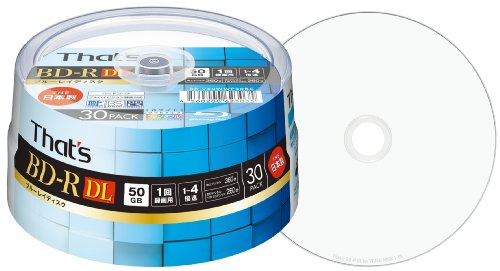 Spindle Case (Blu-ray disc BD-r DL video for 1-4 x 360 / 50 GB Japan-made dual-layer hard wide printable white spindle case 30 pieces)