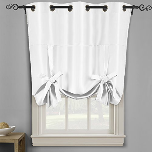 Tie Up Shade (Soho White Tie Up Shade, Blackout Window Curtain Panel, Top Grommet, Solid Pattern, 42x63 inches, by Royal Hotel)
