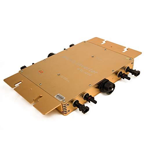 Marsrock IP65 Waterproof 1200W Micro Grid Tie Solar Inverter 22-50VDC to 80-160VAC Pure sine Wave Inverter for 4pcs 300W 30V or 36V Solar Panel System (120VAC Golden) ()