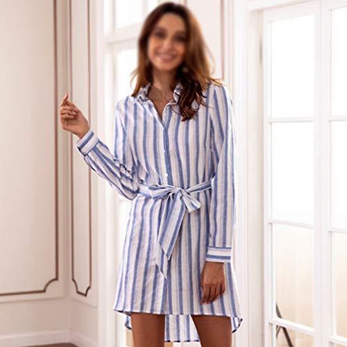 Vita Blue Selling Alta Risvolto A Da Abbigliamento Stampato Camicia Bavero Maniche Gonna polo Con Lunghe Donna Donna Righe Casual Abiti Colletto R6rOwq1SxR