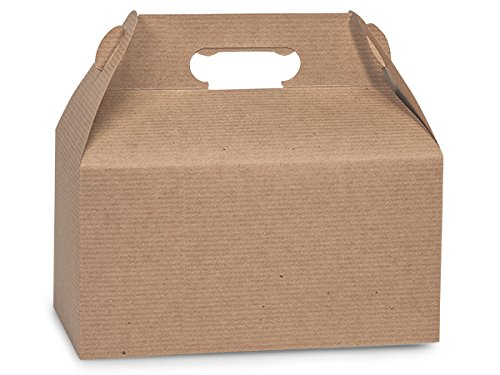 Kraft Gable Boxes with Subtle Pinstripe, Large 9.5 x 5 x 5 - Set of 6 - Natural Kraft -