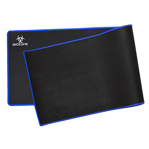 "BioZone Extra Large XXL Extended Gaming Mouse Pad, Stitched Edges, Waterproof, Super Smooth, Non-Slip Backing - 3mm thick- 36""x11"" - Blue"