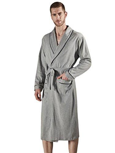 DAFREW Pijama de Seda para Hombres Albornoz de Manga Larga - Primavera, otoño e Invierno Descanso Holgado Ropa de casa Cómoda Bata (Color : Gray, ...