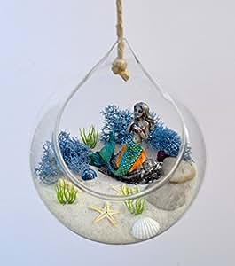 Pixie Glare para colgar terrario de sirena de jardín (. Bajo el océano escena