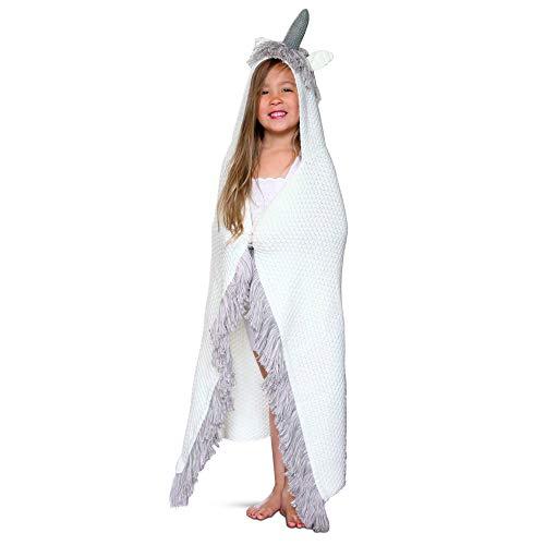 Born To Unicorn Majestic & Wearable Hooded Unicorn Throw Blanket with Horn & Fringe | Child & Adult Sizes | Hypoallergenic & Machine-Washable | Kids - Grey, White/Pink Fringe