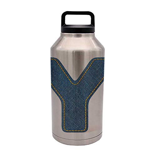 Letter Y Durable 64OZ Stainless Steel Bottle,ABC of Vintage Fashion Theme Jeans Fabric Denim Texture and Uppercase Y Image Decorative for Home Travel Office,4