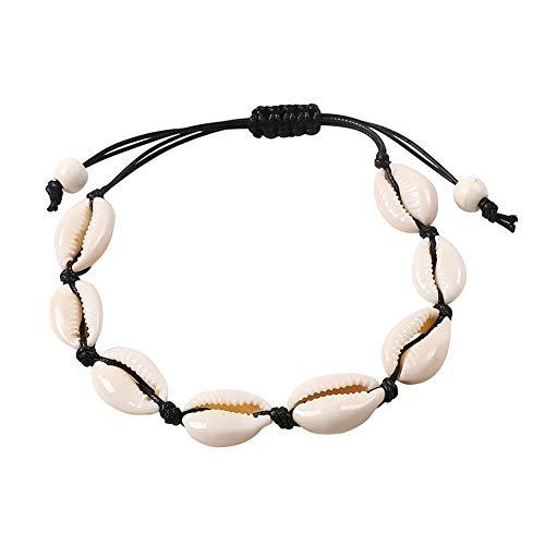 Phima Anklets Bracelets for Women Sea Turtle Infinity Heart Rhinestone Bohemian Ankle Bracelets for Girls Beach Foot Jewelry (A: Black Shell)