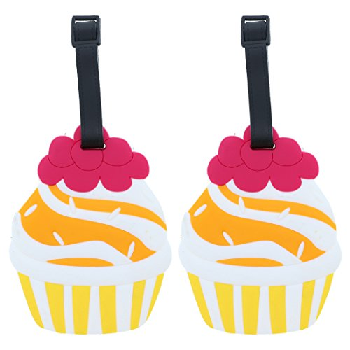 Set of 2 Fun Food Luggage Tags for Travel Suitcase ID Holder - (Cupcake Luggage Tag)
