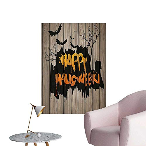 Vinyl Artwork Happy Halloween Graffiti Style Lettering on Rustic Wooden Fence Scary Evil Effect Art Easy to Peel Easy to Stick,24