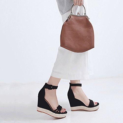 Negro mujer plataforma de de abierta punta Negro SANDALIAS Verano Tamaño talones cuña 38 Zapatos Elegantes Color con PwWxqCUFOn
