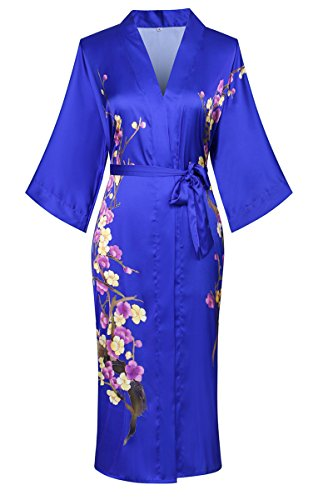 Old-to-new Women's Long Lightweight Elegant Kimono Robe Silk Bathrobe Dressing Gown with Fur- Watercolor Floral