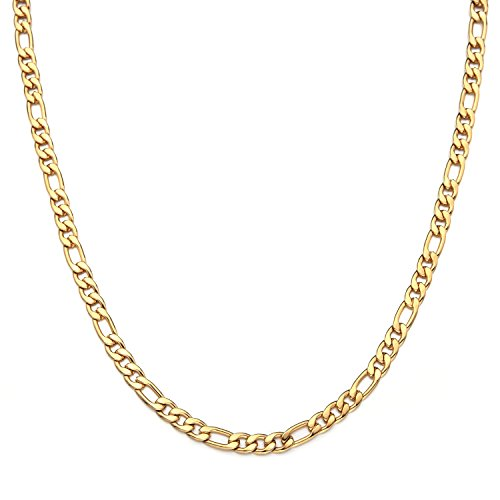 Necklace Figaro Women Link (Forevereally 4-8.5mm Figaro Link Chain Necklace 16-36 Inches Golden Stainless Steel Necklace Men Women Jewelry)