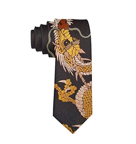 Men's Casual Party Ties, Business Meeting Wedding Suit Necktie, Chinese Dragon Tie