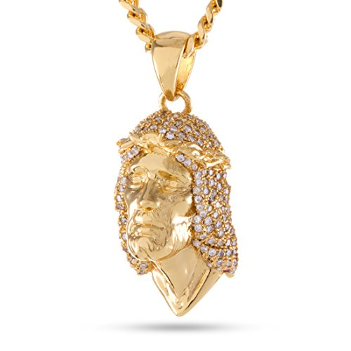 The 14K Gold Plated CZ Jesus Piece Necklace by King Ice