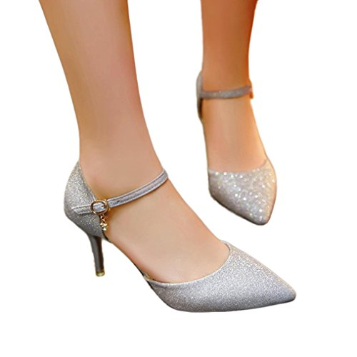 f551a5a8daf79 Fheaven Femmes Talons Décontractés Chaussures Pendentif Cheville Sangle  Jolie Paillettes Chaussures À Talons Hauts Sliver