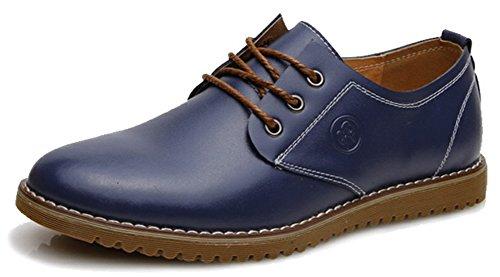 Diffyou Mens Classique Lace Up Low Cut Cuir Formel Oxfords Chaussures Bleu