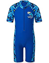 HUANQIUE Boys One Piece Short Sleeve Fish UPF50+ Rash Guard Swimsuit Navy 7-8 Years