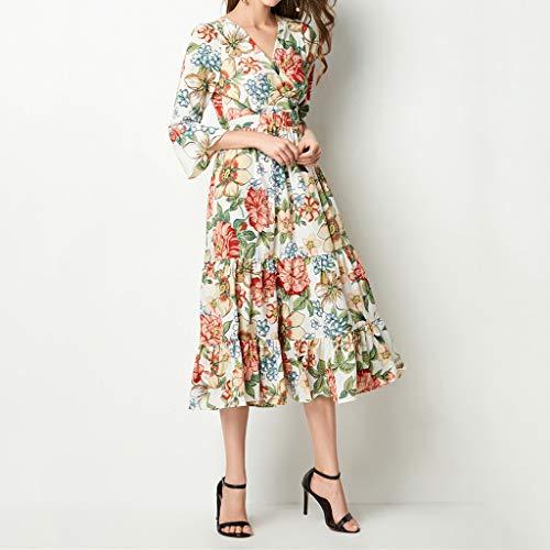 A-Line Printed Ruffled Dress,Hurrybuy Women Elegant V-Neck Knee-Length Vintage Holiday Dress Orange by Women's Blouse (Image #3)