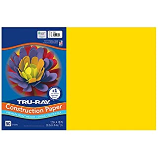 "Tru-Ray Heavyweight Construction Paper, Yellow, 12"" x 18"", 50 Sheets"