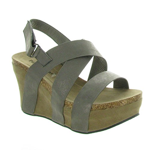 Pierre Dumas Women's Hester-5 Vegan Leather Strappy Wedge Sandals,Gold,10