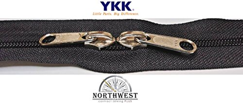 YKK #8 Zipper coil chain with 2 sliders per yard. Sold in 10-yard lots. Please see our other listing for size 10 & size 5. (10 yards & 20 nickel sliders, (10 Yard Coil)