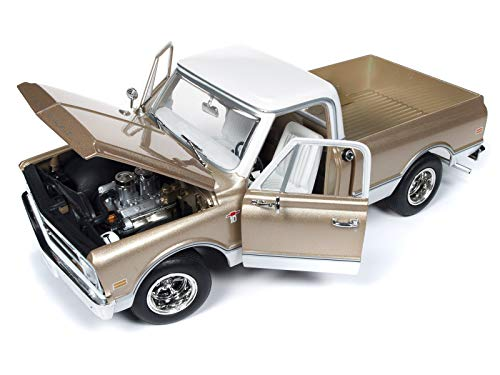 1968 Chevrolet C-10 Fleet Side Pickup Truck Metallic Gold with White Top Limited Edition to 1,002 Pieces 1/18 Diecast Model Car by Autoworld AMM1165 from Auto World