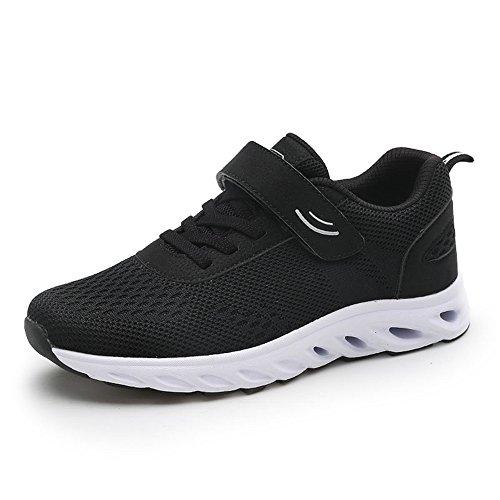 kashiwu Neue Unisex Atmungsaktive Sport Laufschuhe Klett Leichte Sport und Freizeit Tennis Schuhe Laufschuhe Black/White