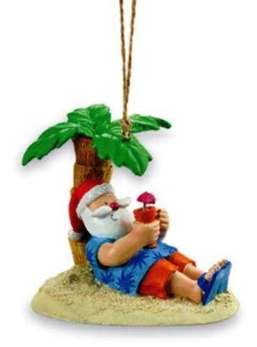 Cape Shore Santa Relaxing Under a Palm Tree Beach Break Holiday ()
