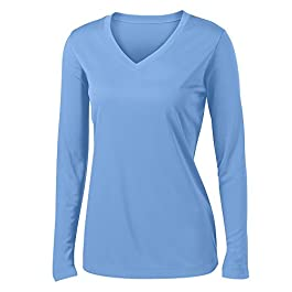 Ladies Long Sleeve V Neck Moisture  Athletic Shirt