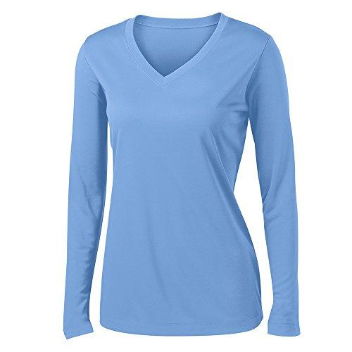 Clothe Co. Ladies Long Sleeve V Neck Moisture Wicking Athletic Shirt, Carolina Blue, L