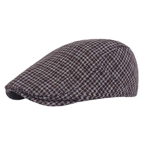 Crytech Mens Classic Plaid Tweed Wool Blend Newsboy Ivy Hat Vintage Winter Fall Checkered Beret Cabbie Gatsby Cap Slouchy Gentlemen Painter Baker Duckbill Hat for Women Golf Driving (Dark Grey)