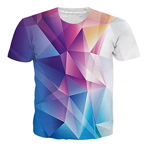 Goodstoworld Mens 3D Print Color Funny Pointedness Pattern Short Sleeve Shirt Cool Graphics Top ()
