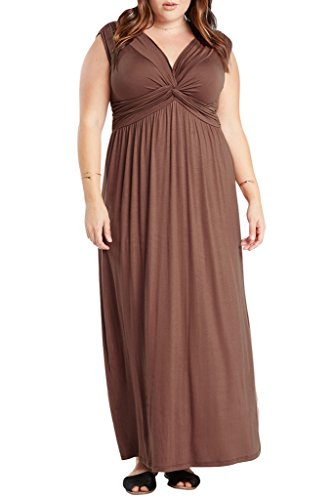 Women's Sleeveless Front Knot Comfy Stretch Maxi Draped Plus Dress USA BR 2XL