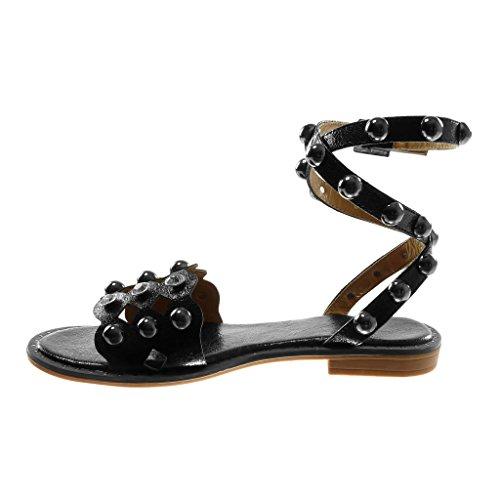 Angkorly Damen Schuhe Sandalen - Knöchelriemen - Hohe - Nieten - Besetzt - Perforiert - Perle Blockabsatz 2 cm Schwarz