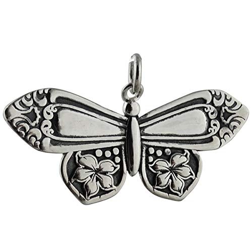 Spoon Handle Butterfly Pendant - 925 Sterling Silver - Flowers Gift Insect - Jewelry Accessories Key Chain Bracelets Crafting Bracelet Necklace Pendants (Sterling Silver Spoon Charm)