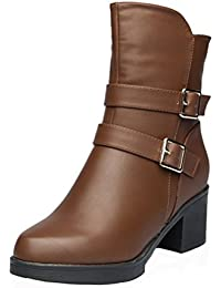 Women's Square Heel Dress Boot Plush Lined Fashion Short Boot