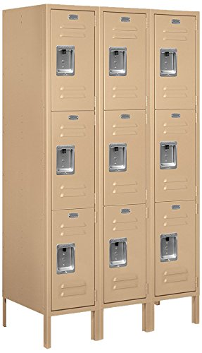 Salsbury Industries 63358TN-U Triple Tier 36-Inch Wide 5-Feet High 18-Inch Deep Unassembled Standard Metal Locker, Tan Brown by Salsbury Industries