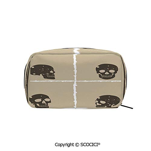 Rectangle Portable makeup organizer Cosmetic Bags Skull Figure on Murky Flat Framework Halloween Crossbones Spooky Monster Image Printed Storage Bags for Women Girls]()