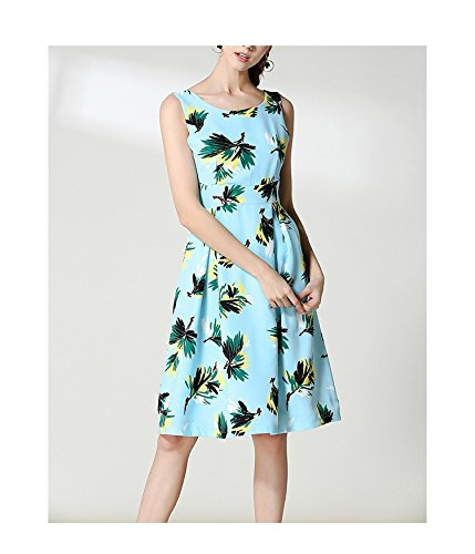 Oudan lunghe Cocktail estivo maniche Donne Party abito dimagrante alta maniche Vintage mini a Dress vita Azzurro Retro lunghe vRvWZrxnF