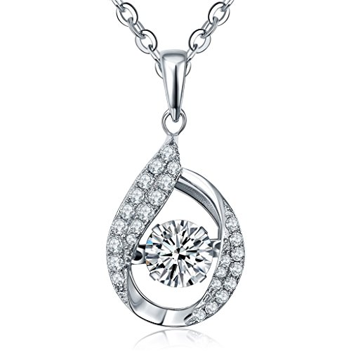 Drop Cubic Zirconia Beads Pendants (Personalized Silver Necklace- YL Women's 925 Sterling Silver Jewelry Cubic Zirconia CZ Teardrop Dancing Diamond Pendant Necklace with Chain,1.4 Cttw 18
