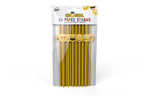 NPW Emoticon Paper Straws - Yellow Novelty Straws Set Get Emojinal -