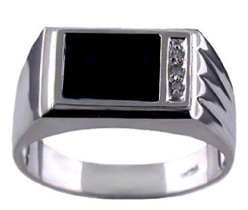 (Mens Onyx & Diamond Ring 14K White Gold)