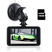 soled Dash Cam Pro Car Dash AUTO Camera Car DVR Night Vision WDR Full HD 170°Wide Angle Dashboard Camera G-sensor Motion Detection AUTO Recording with 16G Memory card for Christmas gifts
