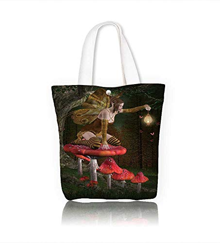 - canvas tote bagFairy into the wood reusable canvas bag bulk for grocery,shopping W12xH14xD4.7 INCH