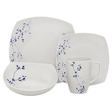 Melange Indigo Garden Square Porcelain 32-Piece Place Setting, Service for 8