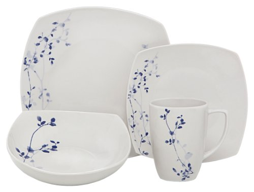 Melange Square 16-Piece Porcelain Dinnerware Set (Indigo Garden) | Service for 4 | Microwave, Dishwasher & Oven Safe | Dinner Plate, Salad Plate, Soup Bowl & Mug (4 Each)